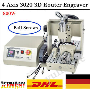 800w 4 Axis 3020 Cnc Router Engraver Milling Machine Engraving Drilling Desktop