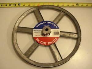 0469 Die Cast Pulley 12 Dia 1 2 Bore V belt A 6 spokes