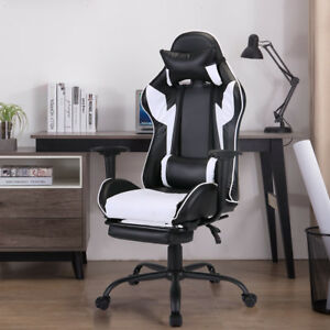 Ergonomic Office Gaming Chair Racing Recliner Bucket Seat Computer Desk W White