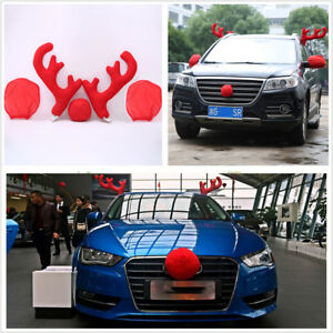 5pcs Plastic Plush Antlers Nose Mirror Cover Car Costume Christmas Decor Tools