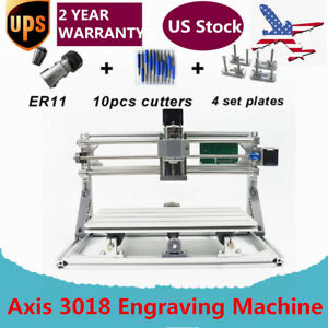 Mini 3 Axis 3018 Cnc Router Wood Milling Engraving Machine Printer Grbl Er11