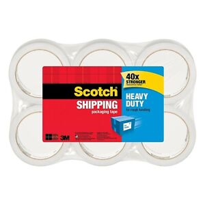 Scotch Heavy Duty Shipping Clear Packaging Tape 1 88 In X 60 15 Yd 6 Pack