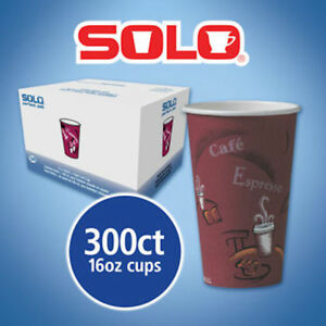Solo Hot Drink Cups 16oz Maroon 300ct Paper Bistro Design Coffee Cup Use To Go