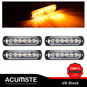 4x 6led Yellow Amber Flash Emergency Light Car Warning Strobe Flashing Lamp New