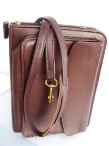 Classic 1 5 ring Full Grain Leather Franklin Covey Planner Binder Shoulder Strap