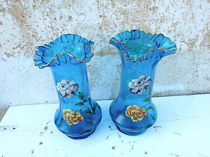 Antique 1900 French Art Nouveau Art Glass Legras Montjoye Enameled Pair Of Vases