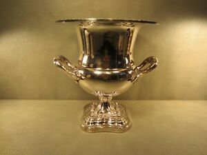 English Silver Plated Vintage Champagne Wine Cooler Ice Bucket Trophy Cup Style
