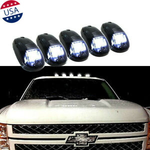 Smoked Lens White Led Cab Roof Marker Running Lights W Line For Chevy Ram 1500