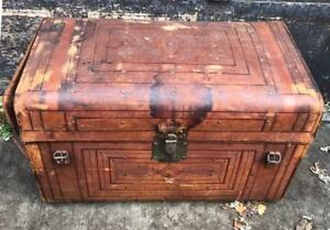 Antique Large Sole Leather Steamer Trunk Chest Ca 1800 S