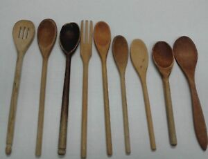 9 Vintage Primitive Wooden Spoons Spatula Fork Farmhouse Country Kitchen Decor