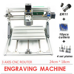 Diy 3 Axis Laser Cnc 2418 Engraving Machine Pcb Milling Wood Carving Router Sale