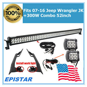 Fits Windshield Mounting Bracket 07 16 Jeep Wrangler Jk 52 300w Led Light wire