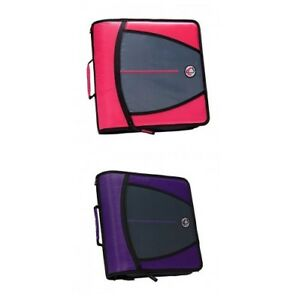 Case it The Mighty Zip Tab 3 ring Binder Neon Pink And Purple D146 Lot Of 2 Euc