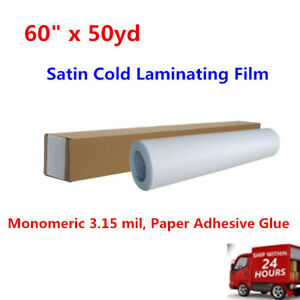 Us 60 X 50yd Satin Cold Laminating Film Monomeric 3 15 Mil Paper Adhesive Glue