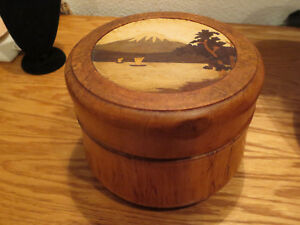 Vint Wood Wooden Hand Crafted Dresser Jar Box Hidden Trinket Compartment Inlay