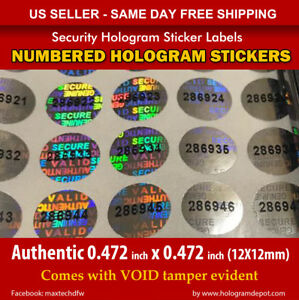100 Round Hologram Warranty Void Security Labels Stickers Seals Numbered