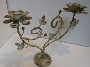 Vintage Tole Candle Holder Candelabra Painted White Gold Shabby