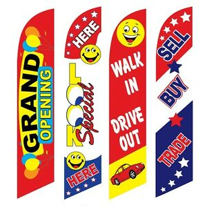 4 Swooper Flags Grand Opening Look Drive Out Sell Buy Trade