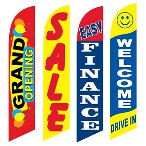 4 Swooper Flags Grand Opening Sale Easy Finance Welcome Drive In