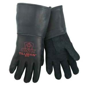 Tillman 875 Onyx All Black Premium Top Grain Elkskin Welding Gloves Medium