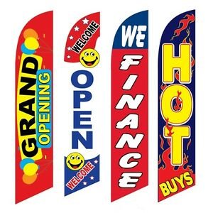 4 Swooper Flags Grand Opening Welcome Open We Finance Hot Buys
