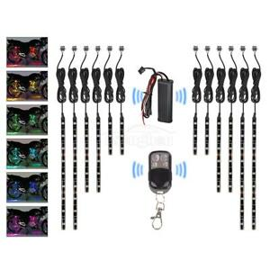 Rgb 5050 Smd Led Remote Motorcycle Body 12pc Led Accent Strip Kit 4 8 12