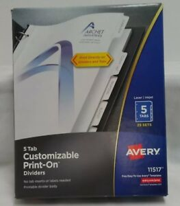Avery 5 Tab Customizable Print on Dividers 11517 Laser Inkjet 25 Sets
