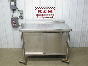 4 Stainless Steel 2 Door Work Top Prep Table Kitchen Cabinet W Under Shelf 48