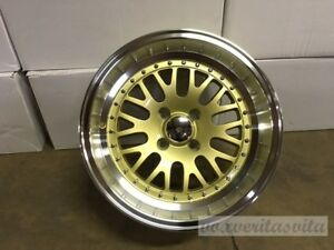 Lm20 Style Gold 15x8 0 Wheels Rims Big Lip Deep Dish Aggressive Fitment 4x100