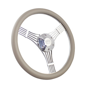 14 Inch Polished Steering Wheel Discord Banjo Grey Wrap 6 Hole