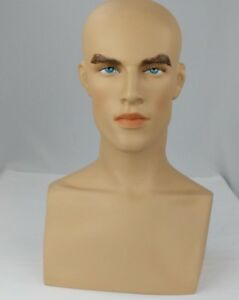 Less Than Perfect 413 a Male Fleshtone Mannequin Head Form Display With Bust