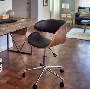 Retro Office Desk Chair Adjustable Seat Vintage Guest Swivel Mid Century Modern