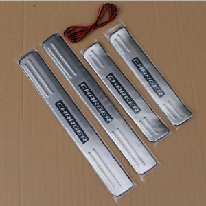 Blue Led Light Stainless Door Sill Scuff Plate Guard For Dodge Charger 2008 2014