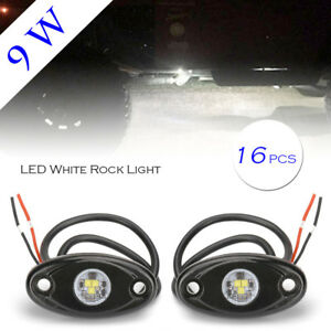 16pcs White Led Rock Lights Fit Jeep Atv Off Road Truck Under Body Trail Rig Bar