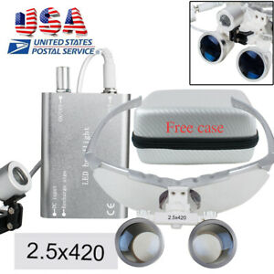 Silver 2 5x420 Dental Surgical Medical Binocular Loupes Led Head Lamp Case Bag