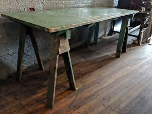 Green Dye Makers Table Workbench Industrial Primitive Desk Kitchen Table 1930s