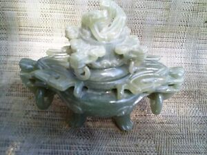 Chinese Natural Green Jade Dragon Beast Statue Incense Burner 6 Tall 7 Wide