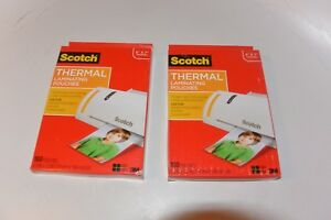 2 X Scotch Thermal Laminating Pouches 5 X 7 Inches Scotch Photo Size 100 Pouches