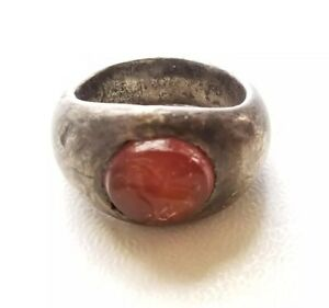 Ancient Roman Silver Ring C 200ad With Carnelian Intaglio Of Abundance 20grams