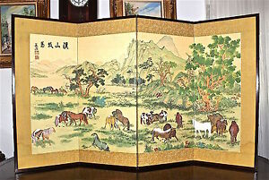 100 Horses Vntg Chinese Japanese 4 Panel Folding Silk Screen After G Castiglione