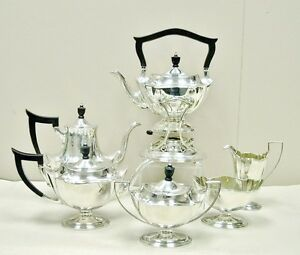 Sterling Silver Gorham Plymouth 7 Pc Tea Coffee Set Kettle Stand 94 85 Ozt 2650g