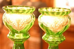 Pair Of Antique Hand Made Bohemian Moser Glass Urns Middle Eastern Motif 19c