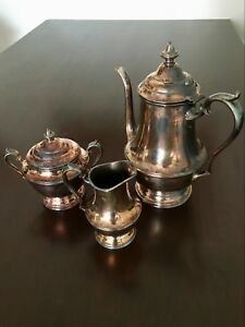 Wm Rogers 3 Piece Tea Set Washington 2476