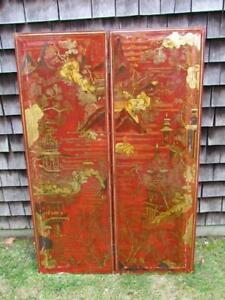 Rare Very Unusual Antique Signed Chinese Japanese Gilt 2 Panel Red Screen