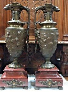Large Antique French Bronze Figural Set Of Ewers Vases Marble Base By H Luppens