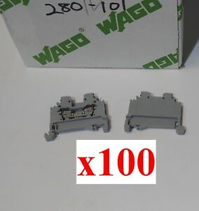 lot Of 100 New Wago 280 101 Din Rail Mount Terminal Block Side Entry Wiring