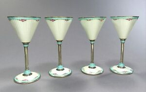 Set Of 4 Vintage German Guilloche Enameled Sterling Silver 935 Cordials Goblets