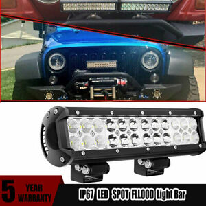 12inch Front Grille Led Light Bar Spot Flood Beam With Wiring Harness Kit