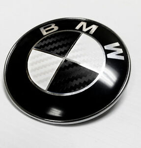 Bmw Black White Carbon Fiber Emblem Sticker Overlay Complete Set Decal