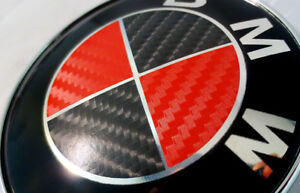 Bmw Black Red Carbon Fiber Emblem Sticker Overlay Complete Set Decal